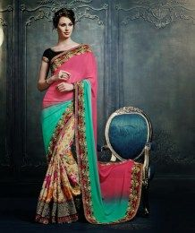 Multi Color Designer Sari With Awesome Embroidery Work
