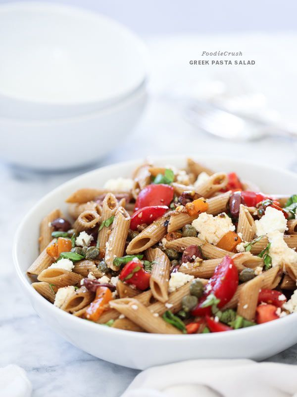 Greek Pasta Salad is a healthy lunch or side with whole wheat pasta and all the greek flavors.
