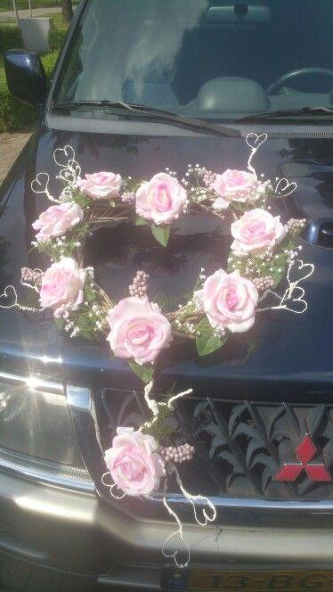 Silk flower wreath for a weddingcar