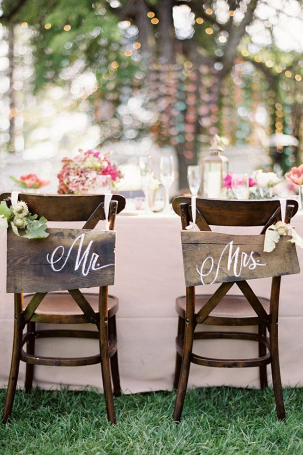 """11 DIY Chair Designs For The Bride And Groom! Want it to say """"Brains"""" and """"Beauty""""."""