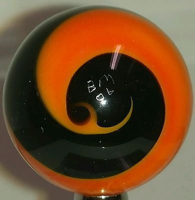 "Handmade Marble Corkscrew Blown Glass 1.14"" Signed BM 06 Orange Black Aventurine"