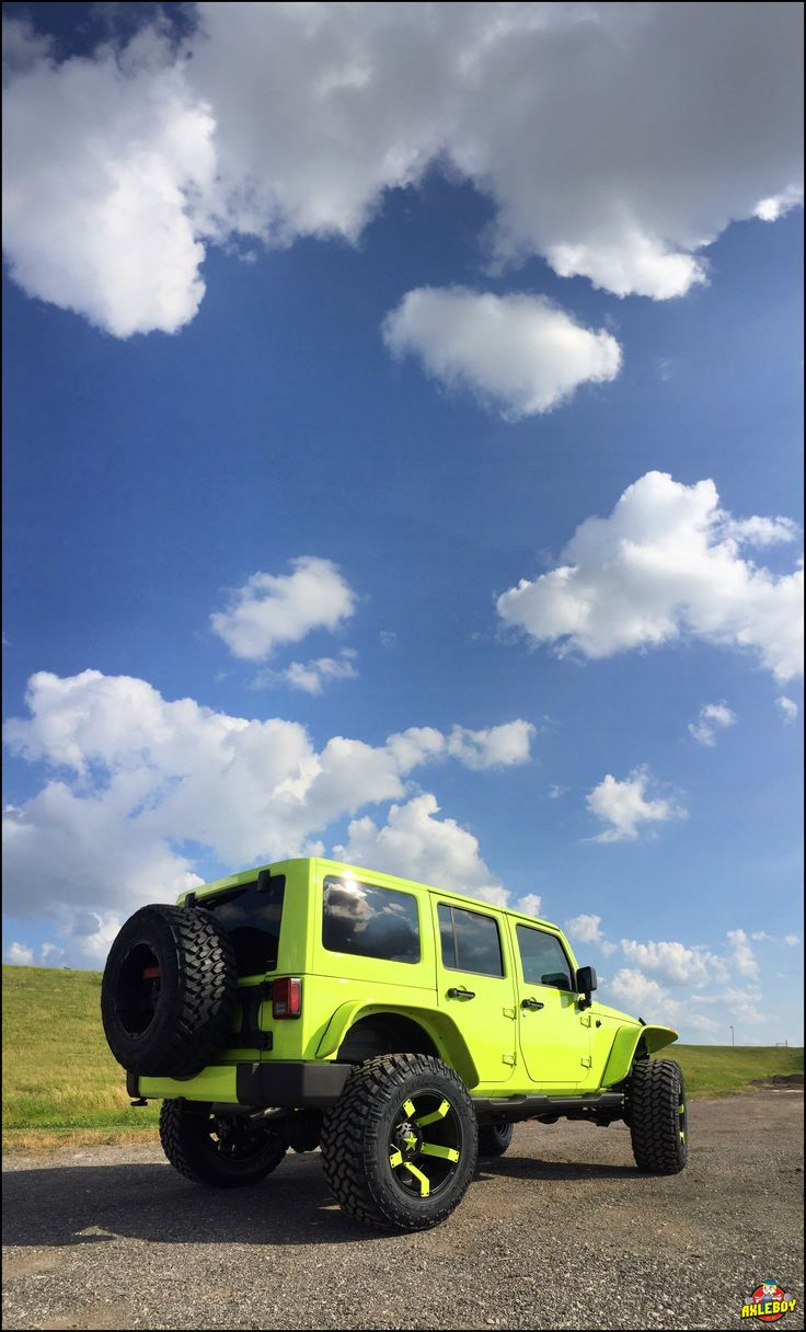 "Hyper-green 2016 Jeep Wrangler on a 3"" Teraflex lift, 37"" Nitto tires, stubby…"