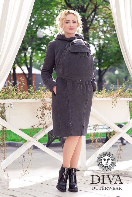 4in1 Babywearing Wool Winter Coat Diva Antracite.  Wool coat for front carrying, back carrying, regular use or during pregnancy.