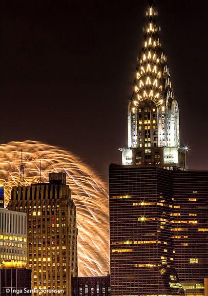 Splash of Fourth of July fireworks near NYC's iconic Chrysler Building