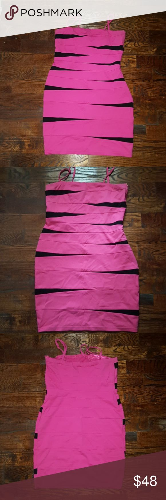 INC Dress Pink and black dress with straps that can be worn on the shoulders or strapless INC International Concepts Dresses Midi