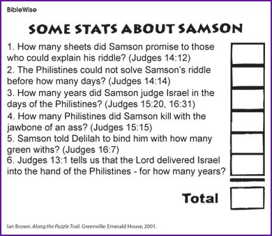 Old Testament Book 2, Lesson 1, Samson Look Up Some Stats about Samson – Kids Korner – BibleWise