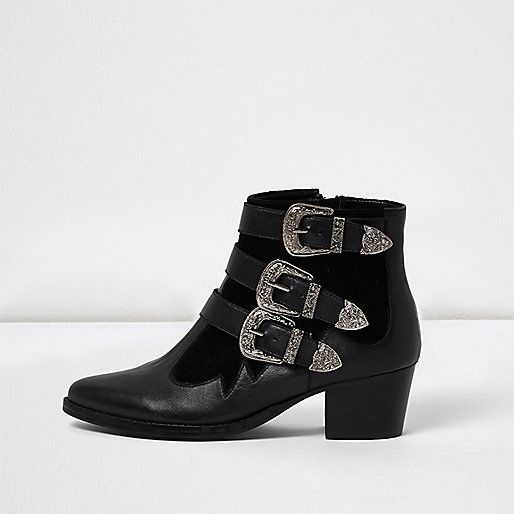 ​Leather upper Western buckle straps Velvety panel detail Pointed toe Block heel height 5.2cm