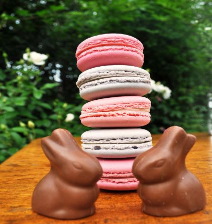 chocolate easter bunnies and pink macarons