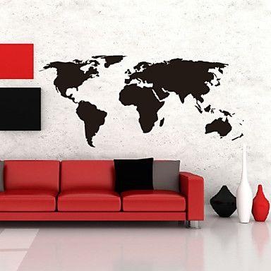 Big global World Map Atlas da parede do vinil da arte do decalque da etiqueta da parede – BRL R$ 61,03