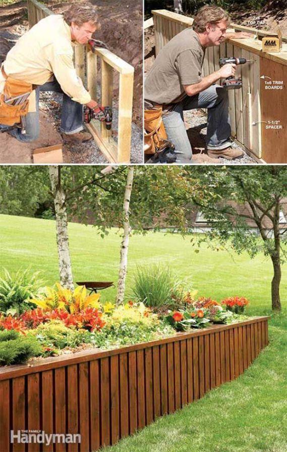 Die besten 25+ Holz Stützmauer Ideen auf Pinterest - sitzecke im garten gestalten 70 essplatze