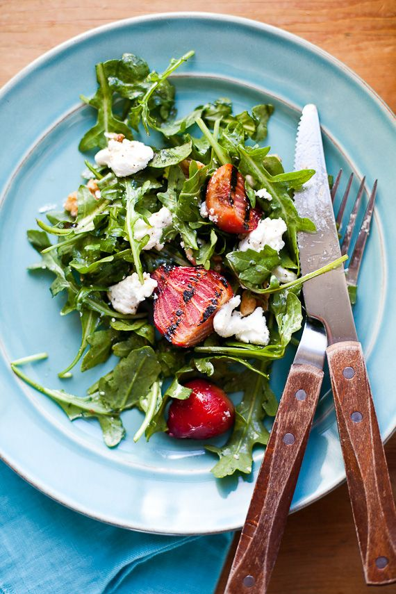 Grilled Beet Salad with goat cheese arugula and walnuts