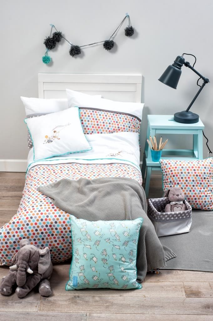 Bed linen for kids from our Multicolor Dots collection. Check other drawings by Agata Raczyńska on our pillows and covers. Visit us on ColorStories.pl for more children bed linen and accessories.