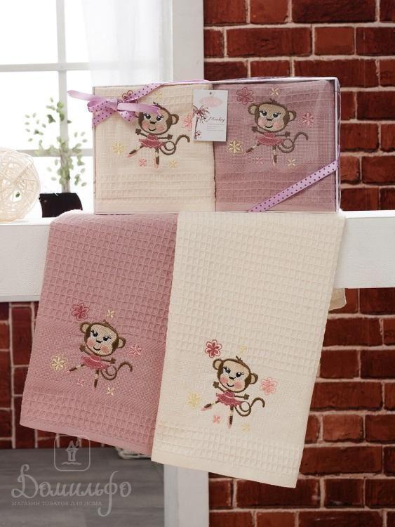 Набор вафельных полотенец с вышивкой KARNA обезьяна WOLDI V7 40х60 (2шт) от Karna (Турция) - купить по низкой цене в интернет магазине Домильфо