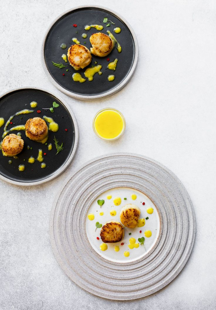 Looking for seafood appetizer recipes? Try these pan-seared scallops, served with mango vinaigrette recipe. Wine pairing recipe, a great way to cook scallops.