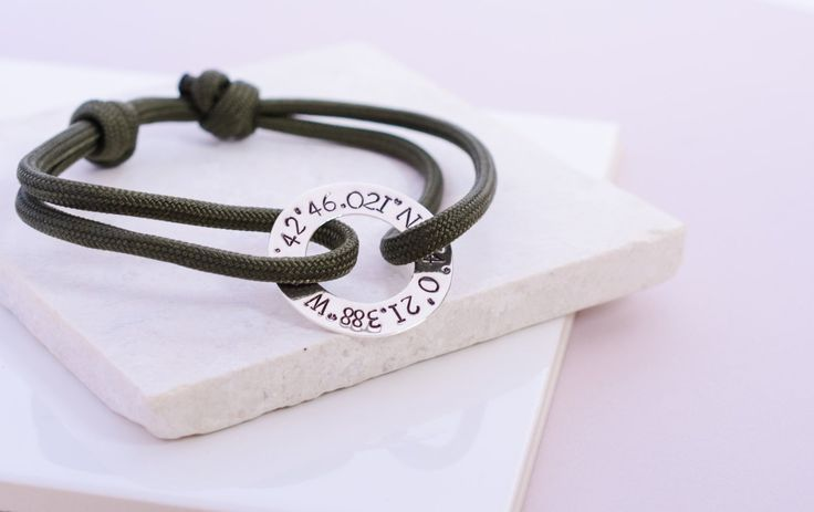 Coordinate Paracord Bracelet // Unisex Paracord Bracelet in Sterling Silver // Silver Personalised Bracelet // Map Coordinate Bracelet