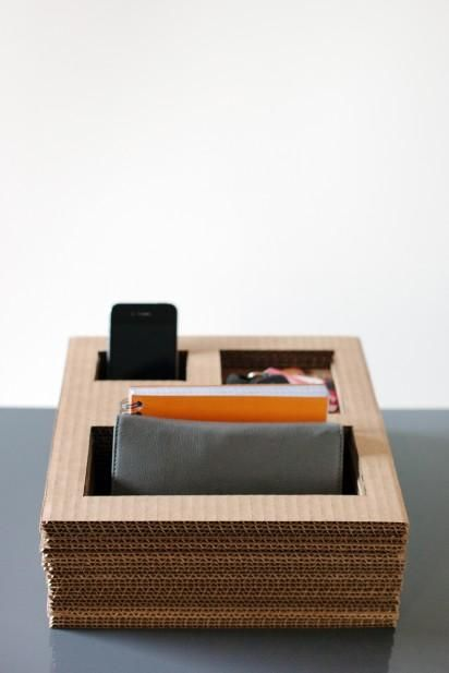 DIY Tutorial: Cardboard / DIY Cardboard Desk Organizer - Bead&Cord (add half length cut stack to prop phone, or iPad, up higher in back to see screen) and run charger through bottom.