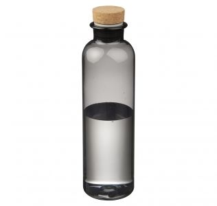 Promotional Sparrow Bottle. Black Tritan Water Bottle With Cork Lid. 650ml
