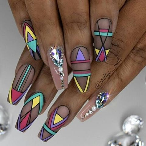 "1,534 Likes, 8 Comments - #NAILSMAGAZINE (@nailsmagazine) on Instagram: ""#tribal #nails on a Tuesday by @chellys_nails #nailart #notd #nailsmagazine #mattenails"""