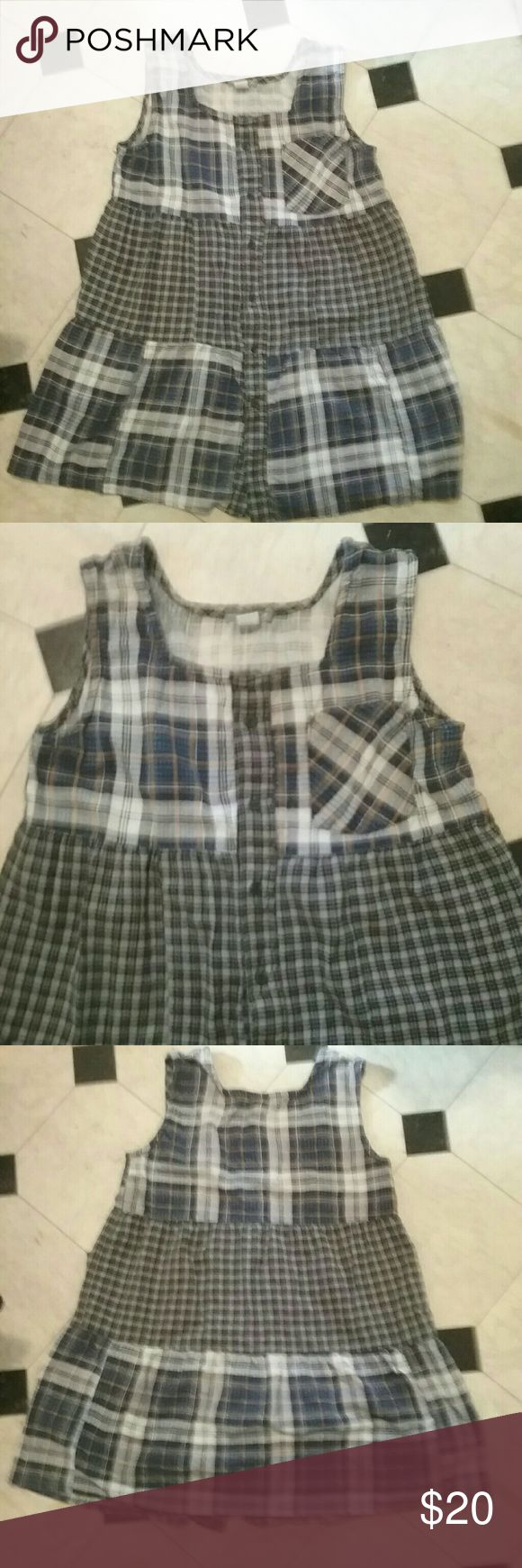 Urban Renewal flannel tunic tank Blue, Black, white and tan tunic tank in soft lightweight cotton flannel with buttons down the front. Gently worn a few times. Urban Renewal Tops Tunics