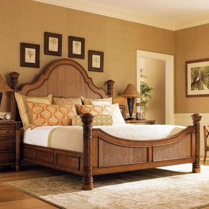 white island style bedroom furniture rattan panel bed hardwood curved headboard brown tropical sets