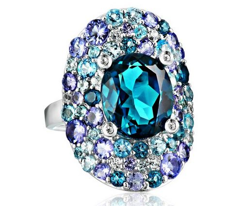 Kenneth Jay Lane Fine Jewelry Sterling Silver, Tanzanite, Blue and White #Topaz Oval #Ring  Price: $625.00  https://www.facebook.com/Buyers.Digest