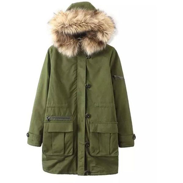 Chicnova Fashion Padded Parka Coat (€53) ❤ liked on Polyvore featuring outerwear, coats, jackets, hooded coat, green hooded coat, green parka, padded coat and hooded parka