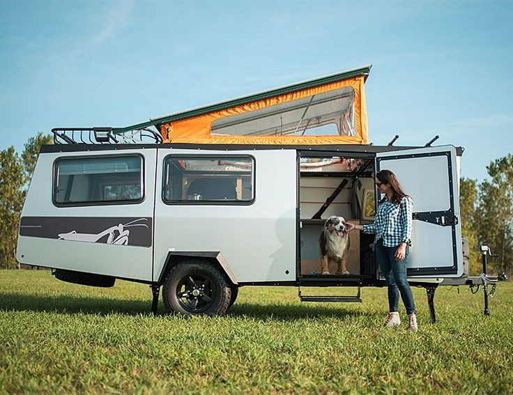 The Mantis camper from Taxa Outdoors is a rugged 18-foot-long trailer that comfortably sleeps 4 adults, weighs under 2,300 lbs. and can be stored in a standard length and height garage. The plumbing & electrical systems were inspired by NASA for efficiency and lighter weight. The pop-up roof design keeps it low for towing which is safer & saves fuel on the freeway while 14-inch ground clearance makes it very capable for off-road adventures.