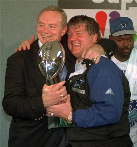 Jerry Jones and Jimmy Johnson celebrate the Dallas Cowboys' second-straight Super Bowl victory on January 30, 1994
