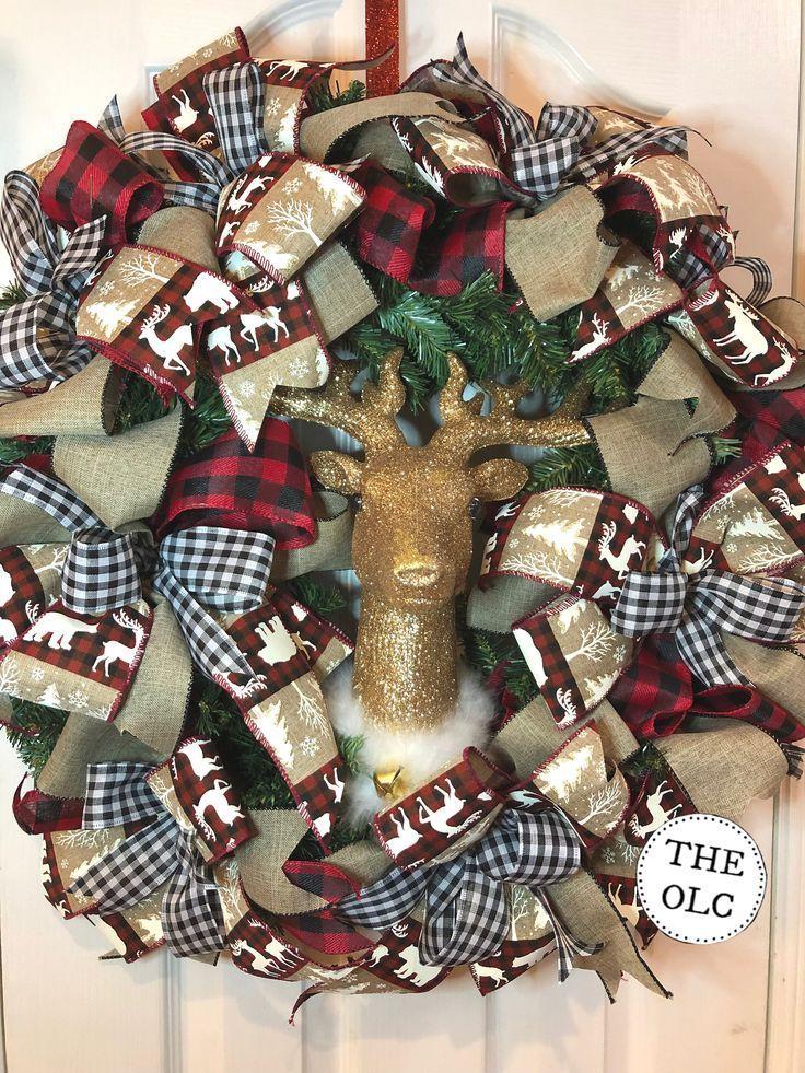 Tartan Wreath /& Reindeer Christmas Stocking Decoration
