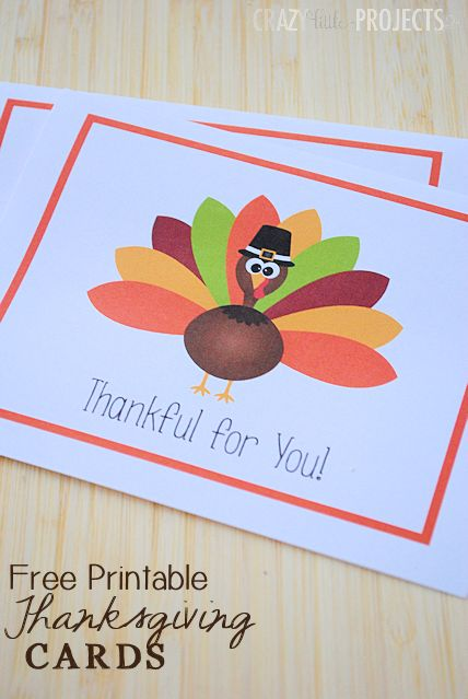 Free Printable Thanksgiving Thank You Cards from Crazy Little Projects