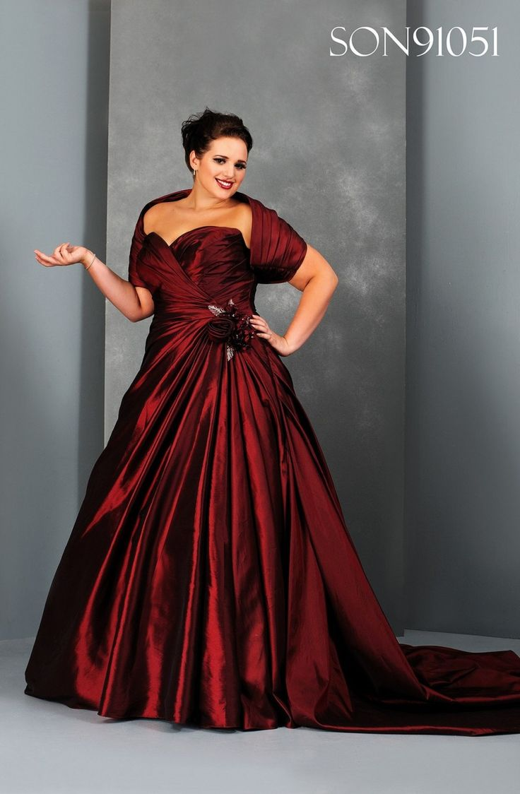 Plus Size Red Wedding Dresses | Above is a metallic plus size red bridesmaid dress. Find the possible ...