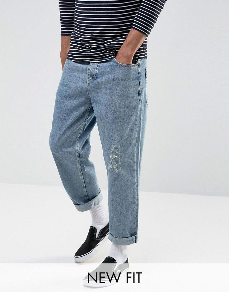 ASOS Skater Jeans In Vintage Light Wash Blue - Blue