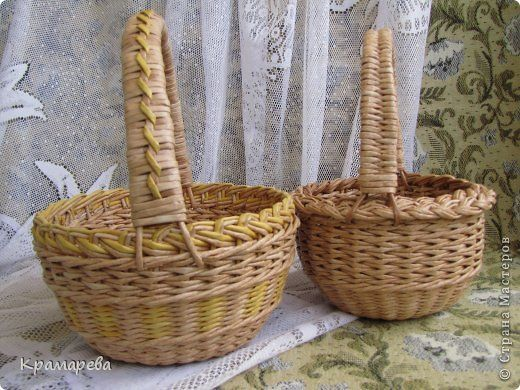 Поделка изделие Плетение Ах корзиночки-корзинки  Трубочки бумажные фото 4