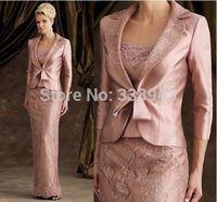 2017 Mãe Dos Vestidos de Noiva Bainha Até O Chão Laço De Cetim Rosa Vestidos de Festa de Casamento Longo Vestidos de Mãe Com Jaqueta