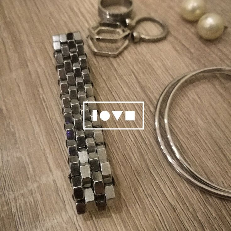 Statement bracelet with stainless steel hex nuts!https://www.etsy.com/shop/hexnutsmade?ref=seller-platform-mcnav Visit our shop and get yours now!
