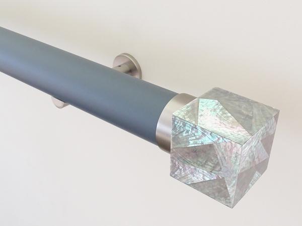 50mm diameter matt lead wooden curtain pole with abalone riva cube finial, steel brackets
