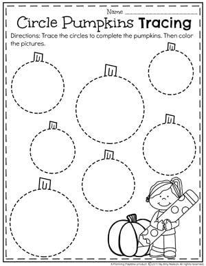 Hojas de trabajo de rastreo de preescolar para octubre - rastreo de calabazas de círculo.