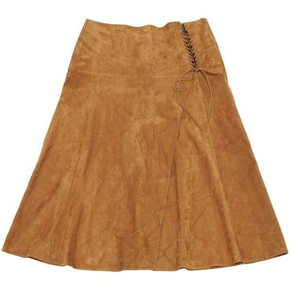 Pre-owned Ralph Lauren Collection Mid-Length Skirt ($528) ❤ liked on Polyvore featuring skirts, camel, women clothing skirts, mid length skirts, high waisted knee length skirt, high-waisted skirt, high-waist skirt and flare skirt