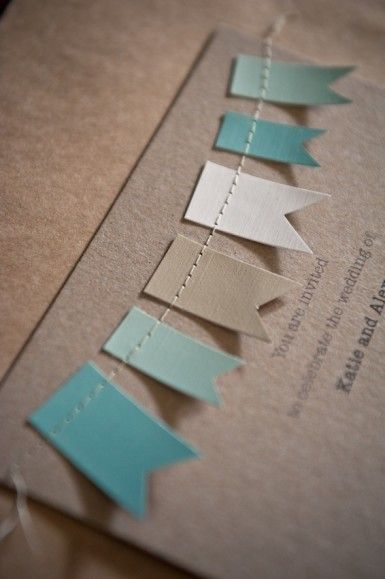 bunting wedding invitation - could work for a baby shower as well