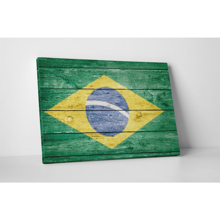 Make your walls come alive with this vibrant vintage Brazil flag canvas wall…
