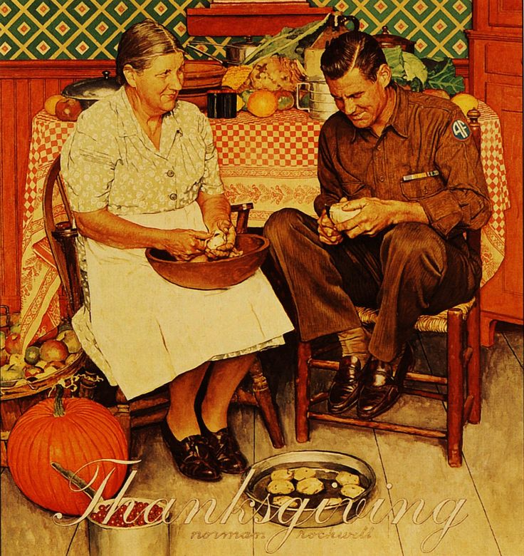 1945  Norman Rockwell   Thanksgiving  Huile sur Toile  89x85 cm.jpg