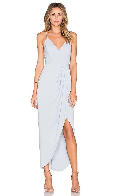 Shona Joy Stellar Drape Dress en Azul polvoso   REVOLVE