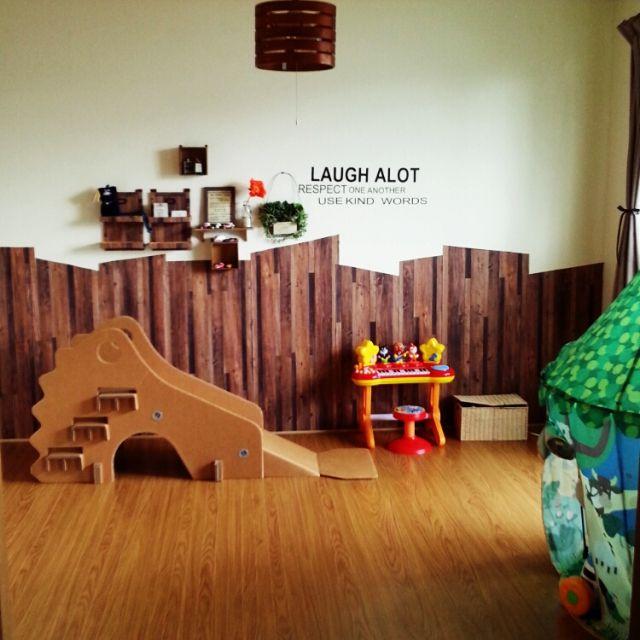 ichirinさんの、部屋全体,雑貨,壁,DIY,多肉植物,キッズルーム,壁紙,賃貸,のお部屋写真