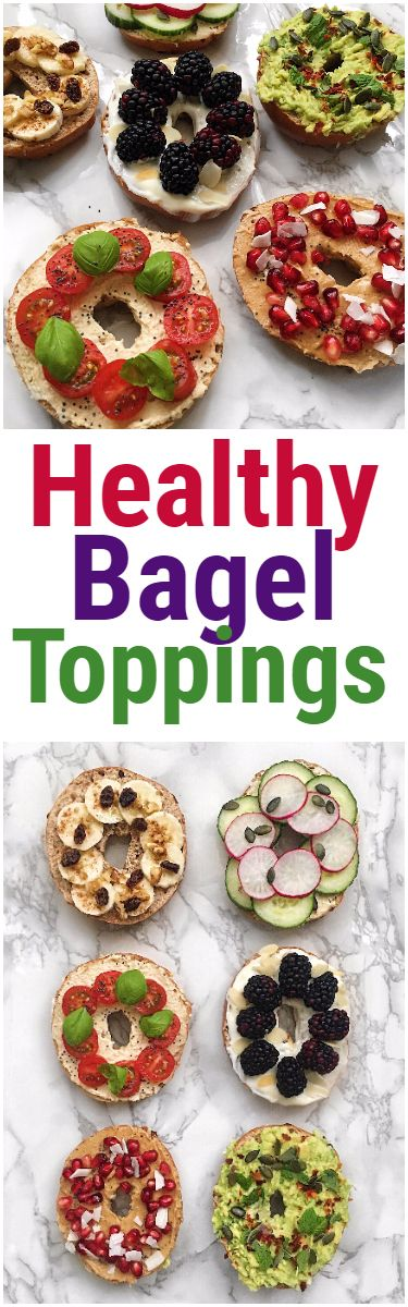 Healthy Bagel Toppings! For a delicious snack, lunch or dessert. #bagel #healthybageltoppings #sweetbagel #toasttoppings #avocado #fruit #vegan #glutenfree #paleo #healthy #bagelsandwich