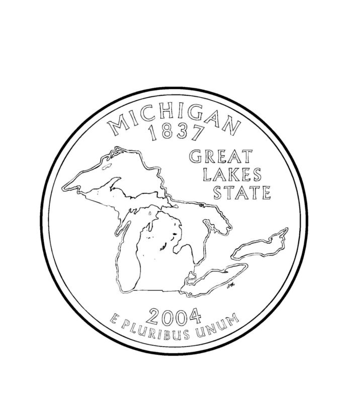 Coloring Pages Quarter : Michigan state quarter coloring page usa quarters