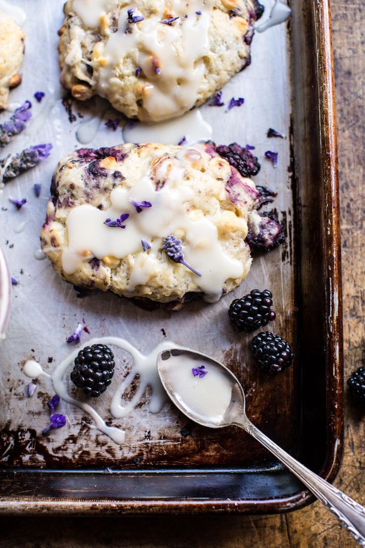 Blackberry Lavender White Chocolate Scones - so delish and ready to pop in the oven in ten minutes or less//