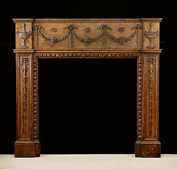 18th Century French Antique Louis XVI Carved Oak Fireplace Mantel
