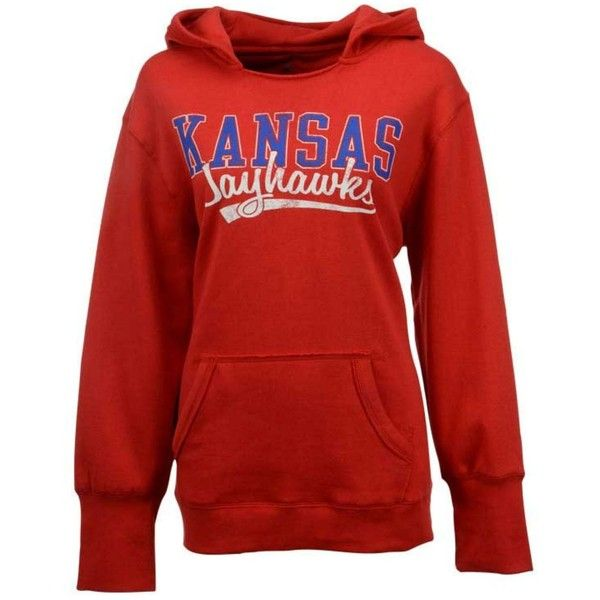 J America Women's Kansas Jayhawks Plus Size Hoodie ($45) ❤ liked on Polyvore featuring plus size women's fashion, plus size clothing, plus size tops, plus size hoodies, red, red top, sweater pullover, sweatshirt hoodies, red pullover hoodie and plus size hoodie