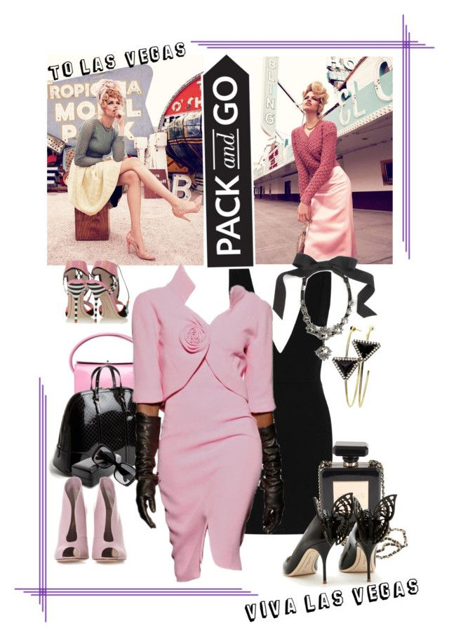 Vegas: Pack & Go! by betiboop8 on Polyvore featuring Topshop, Gianvito Rossi, Sophia Webster, Gucci, Chanel, Giuseppe Zanotti, Lanvin, Jemma Wynne and Veja