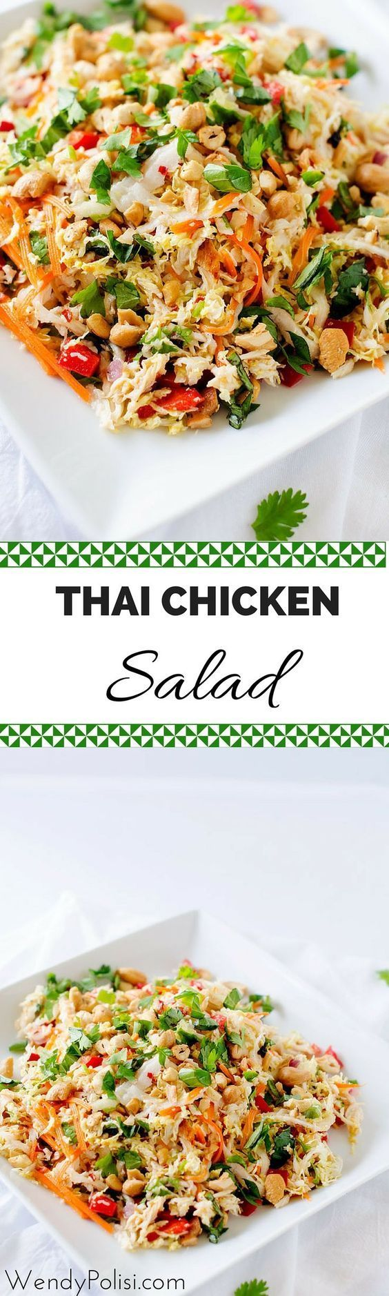 Thai Chicken Salad with Ginger Lime Dressing - This healthy salad recipe is packed with flavor and texture! Naturally gluten free and peanut free, this is a healthy meal you won't want to miss.- http://WendyPolisi.com